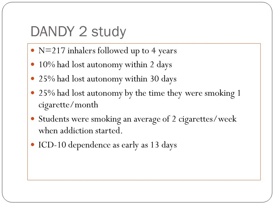 DANDY 2 study N=217 inhalers followed up to 4 years 10% had lost autonomy within 2 days 25% had lost autonomy within 30 days 25% had lost autonomy by