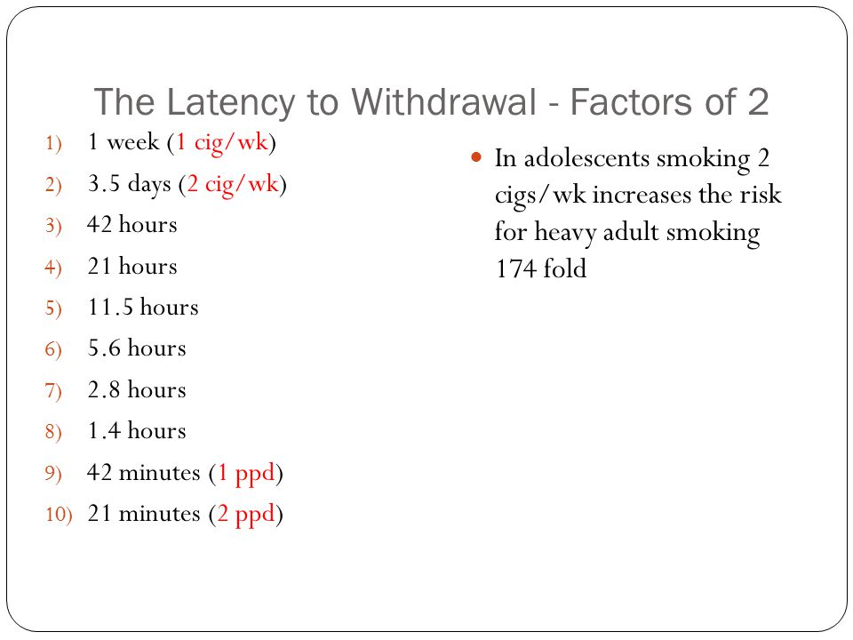 The Latency to Withdrawal - Factors of 2 1) 1 week (1 cig/wk) 2) 3.5 days (2 cig/wk) 3) 42 hours 4) 21 hours 5) 11.5 hours 6) 5.6 hours 7) 2.8 hours 8