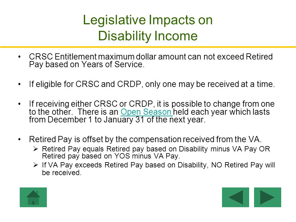 Step 5: Total Monthly Pay: The Total Monthly Pay is the sum of retired disability compensations VA Pay + *Retired Pay + CRSC * Retired Pay = Retired Pay Disability – VA Pay VA Pay:$1,272VA Pay Retired Pay: ($827 - $1,272) =$ 0 CRSC:$ 0 ----------- Total Monthly Compensation: $1,272 Click Here to Enter Personal Disability Ratings.
