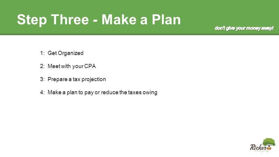 Step Three - Make a Plan 1: Get Organized 2: Meet with your CPA 3: Prepare a tax projection 4: Make a plan to pay or reduce the taxes owing