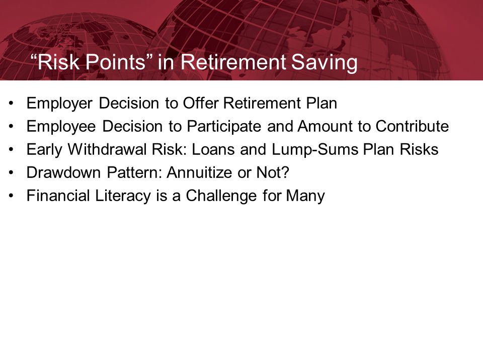 """Risk Points"" in Retirement Saving Employer Decision to Offer Retirement Plan Employee Decision to Participate and Amount to Contribute Early Withdraw"