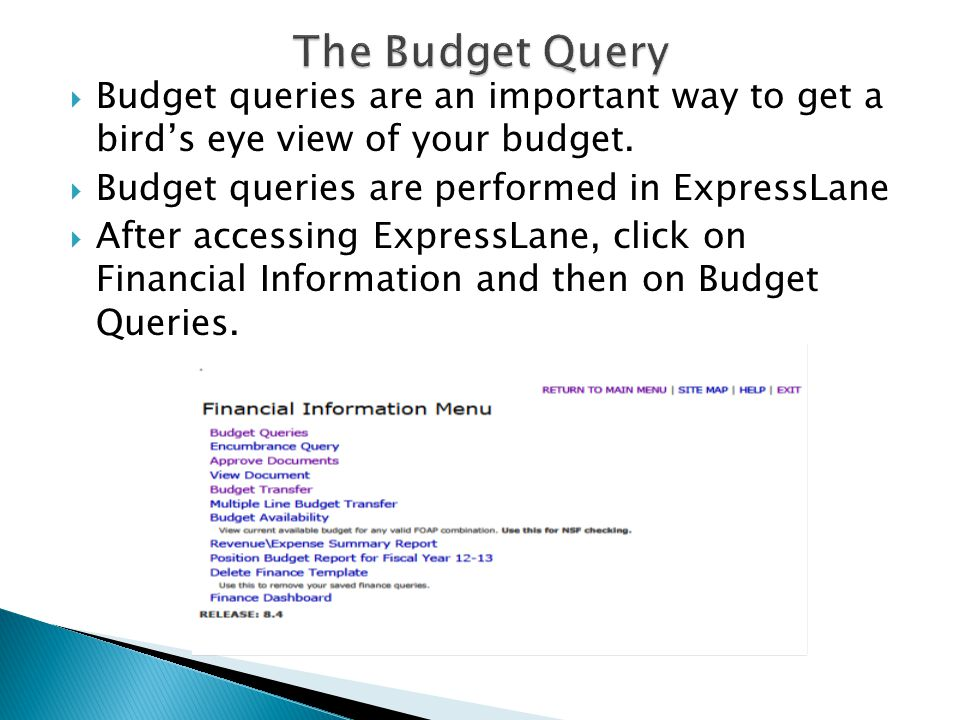  Budget queries are an important way to get a bird's eye view of your budget.