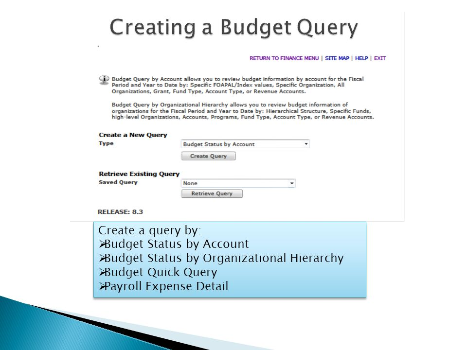 Create a query by:  Budget Status by Account  Budget Status by Organizational Hierarchy  Budget Quick Query  Payroll Expense Detail Create a query by:  Budget Status by Account  Budget Status by Organizational Hierarchy  Budget Quick Query  Payroll Expense Detail