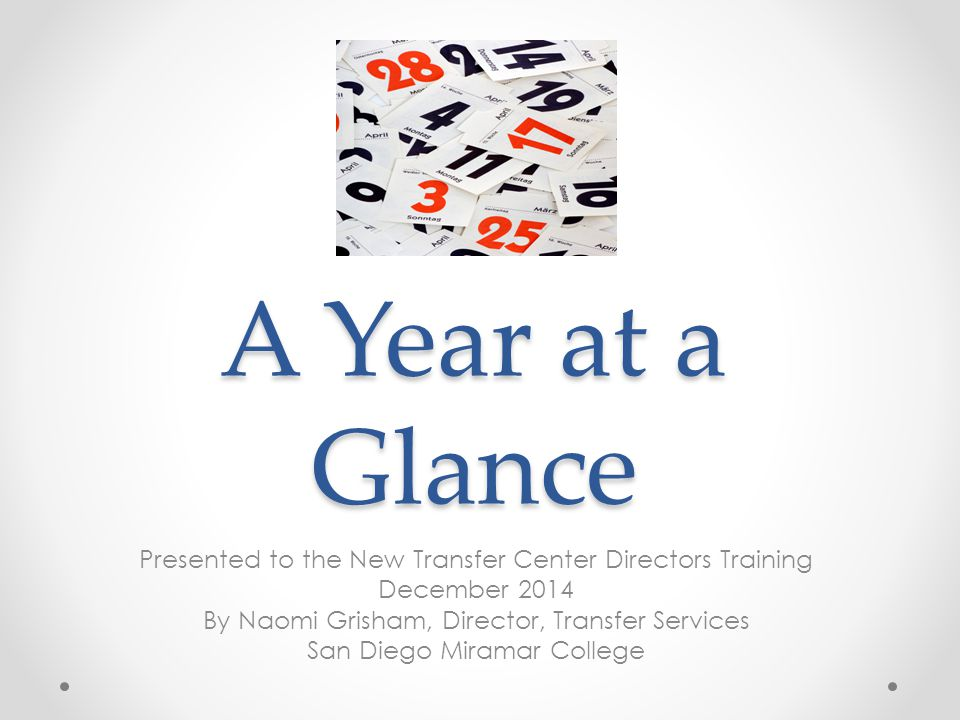 A Year at a Glance Presented to the New Transfer Center Directors Training December 2014 By Naomi Grisham, Director, Transfer Services San Diego Miramar College
