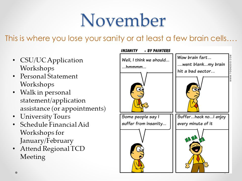 November This is where you lose your sanity or at least a few brain cells….