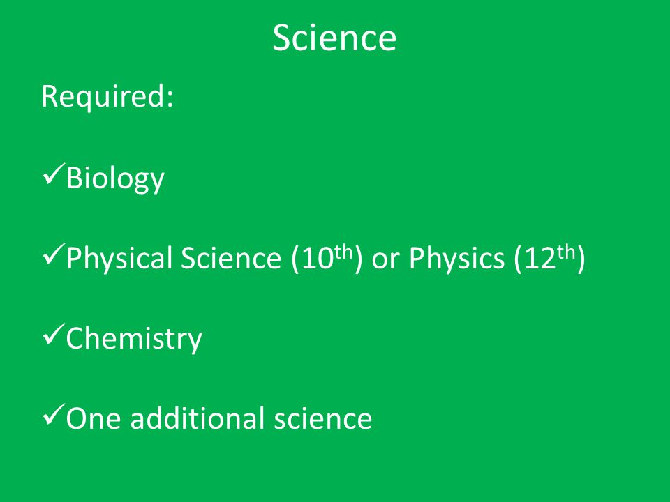 Science Required: Biology Physical Science (10 th ) or Physics (12 th ) Chemistry One additional science