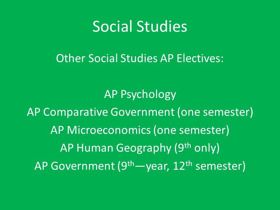 Social Studies Other Social Studies AP Electives: AP Psychology AP Comparative Government (one semester) AP Microeconomics (one semester) AP Human Geo