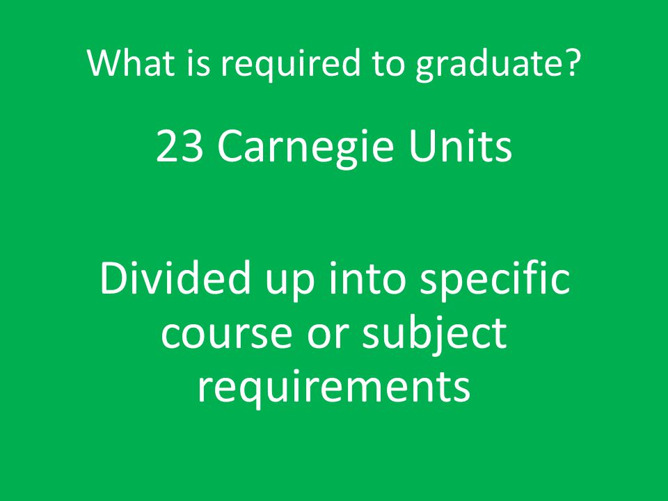 What is required to graduate? (The following is on the handout titled Graduation Requirements)