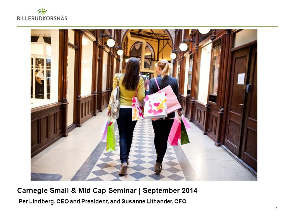 1 Per Lindberg, CEO and President, and Susanne Lithander, CFO Carnegie Small & Mid Cap Seminar | September 2014