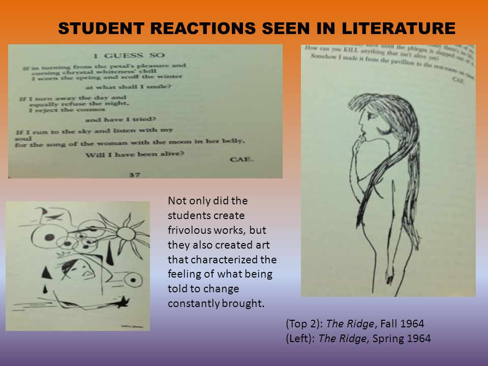 STUDENT REACTIONS SEEN IN LITERATURE (Top 2): The Ridge, Fall 1964 (Left): The Ridge, Spring 1964 Not only did the students create frivolous works, but they also created art that characterized the feeling of what being told to change constantly brought.