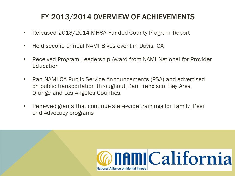 FY 2013/2014 OVERVIEW OF ACHIEVEMENTS Released 2013/2014 MHSA Funded County Program Report Held second annual NAMI Bikes event in Davis, CA Received Program Leadership Award from NAMI National for Provider Education Ran NAMI CA Public Service Announcements (PSA) and advertised on public transportation throughout, San Francisco, Bay Area, Orange and Los Angeles Counties.