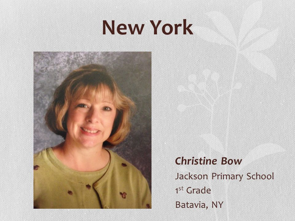 New York Christine Bow Jackson Primary School 1 st Grade Batavia, NY