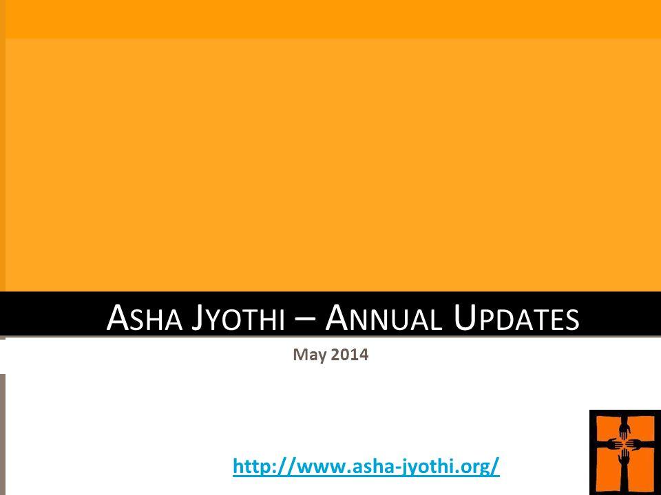 A SHA J YOTHI – A NNUAL U PDATES May 2014 http://www.asha-jyothi.org/