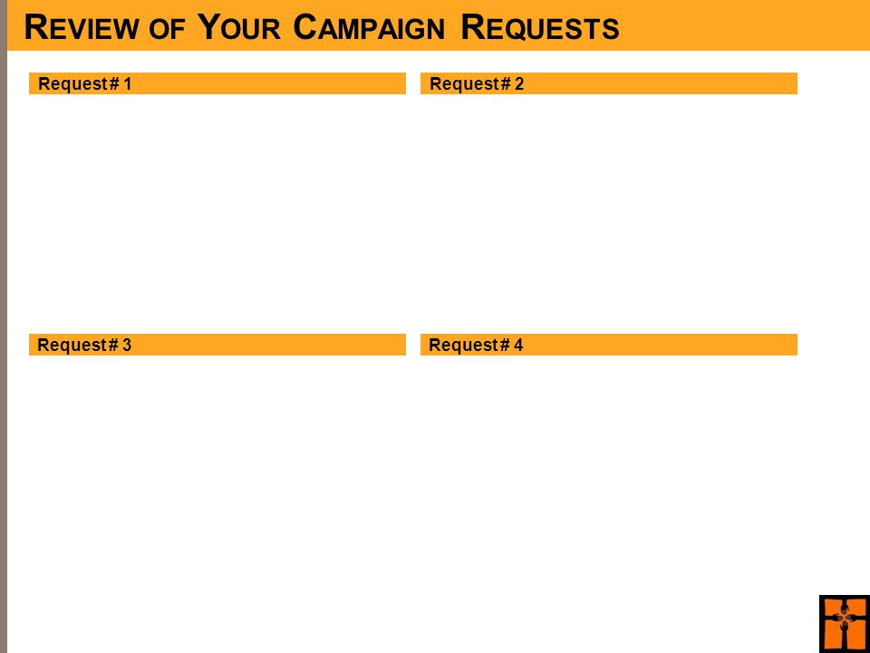 R EVIEW OF Y OUR C AMPAIGN R EQUESTS Request # 1 Request # 3 Request # 2 Request # 4