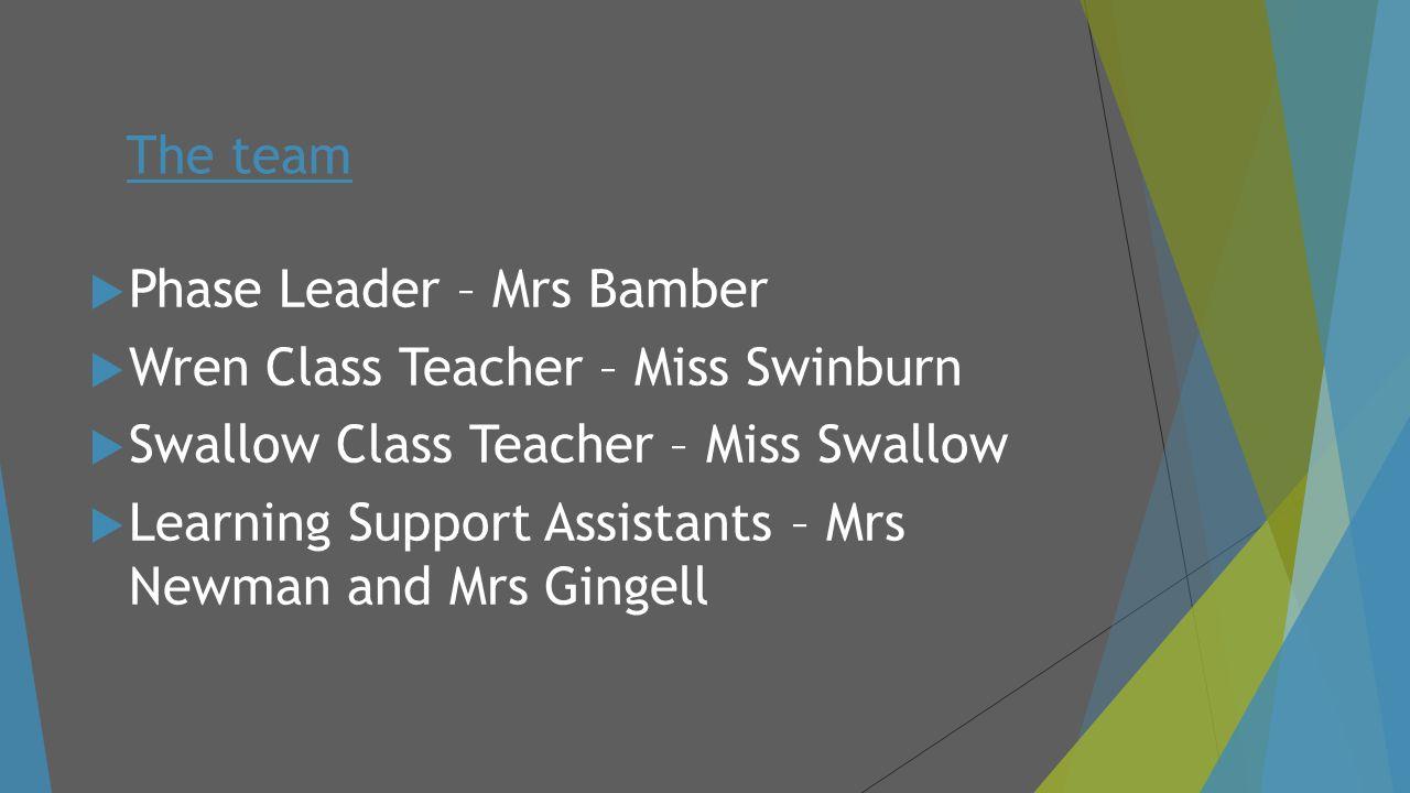  Phase Leader – Mrs Bamber  Wren Class Teacher – Miss Swinburn  Swallow Class Teacher – Miss Swallow  Learning Support Assistants – Mrs Newman and
