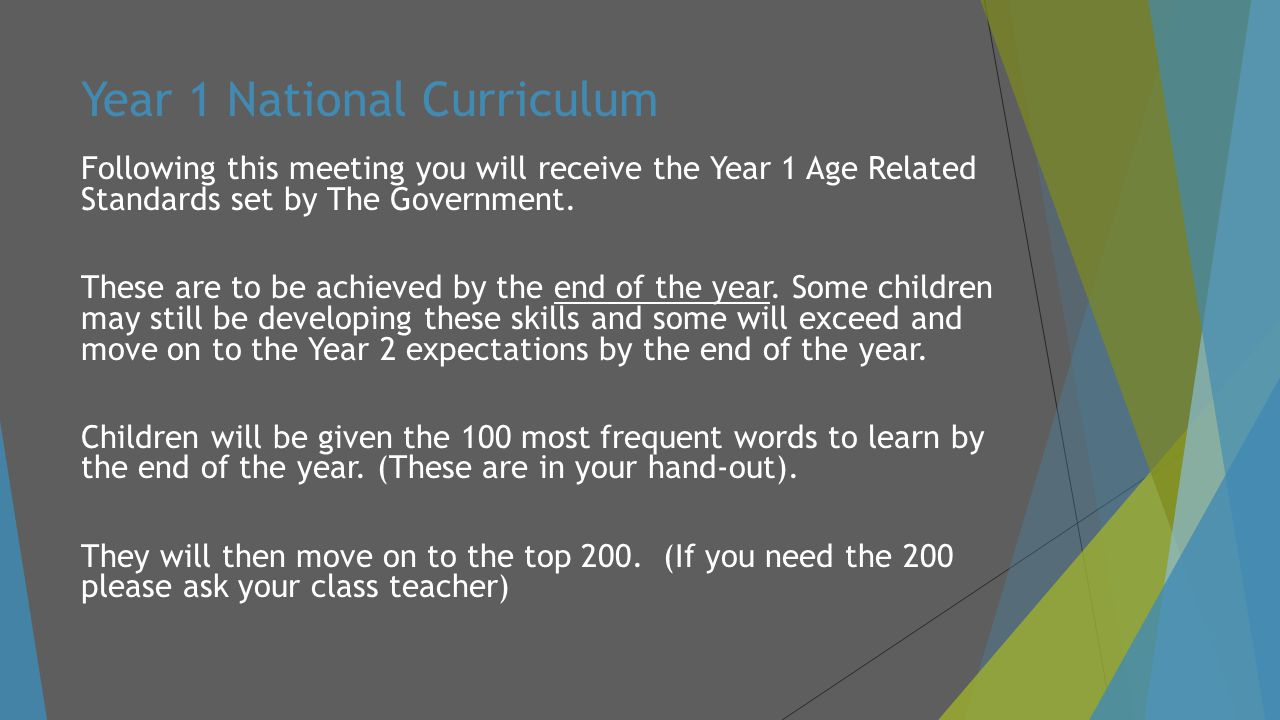 Year 1 National Curriculum Following this meeting you will receive the Year 1 Age Related Standards set by The Government.