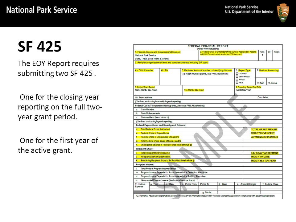 SF 425 The EOY Report requires submitting two SF 425.