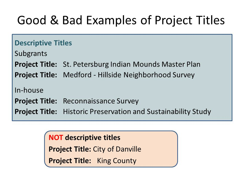 Good & Bad Examples of Project Titles Descriptive Titles Subgrants Project Title:St.