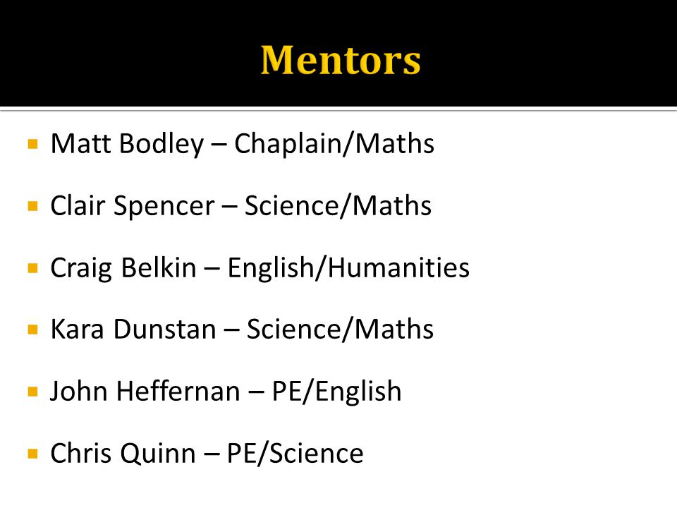  Matt Bodley – Chaplain/Maths  Clair Spencer – Science/Maths  Craig Belkin – English/Humanities  Kara Dunstan – Science/Maths  John Heffernan – P