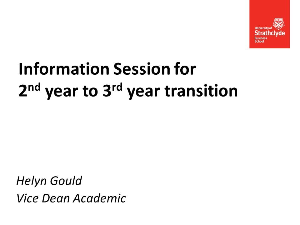 Information Session for 2 nd year to 3 rd year transition Helyn Gould Vice Dean Academic