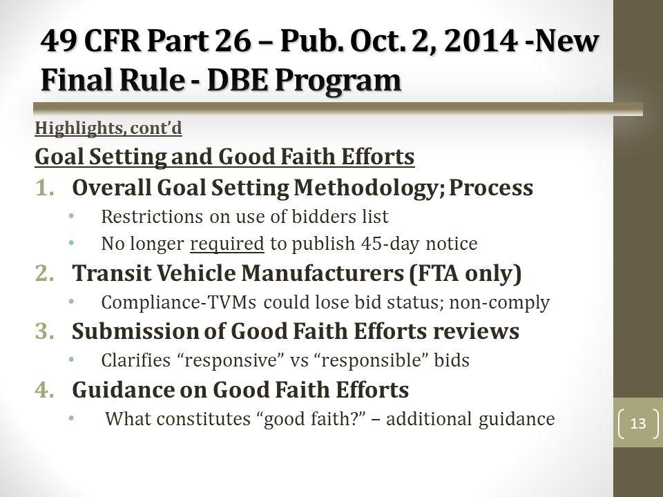 49 CFR Part 26 – Pub. Oct.