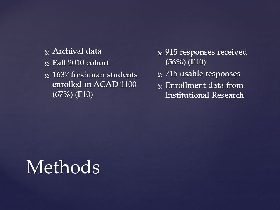 Methods  Archival data  Fall 2010 cohort  1637 freshman students enrolled in ACAD 1100 (67%) (F10)  915 responses received (56%) (F10)  715 usabl