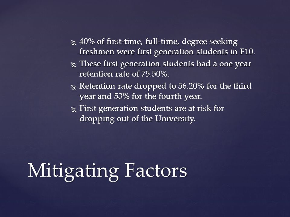  40% of first-time, full-time, degree seeking freshmen were first generation students in F10.  These first generation students had a one year retent