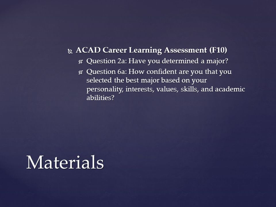  ACAD Career Learning Assessment (F10)  Question 2a: Have you determined a major.