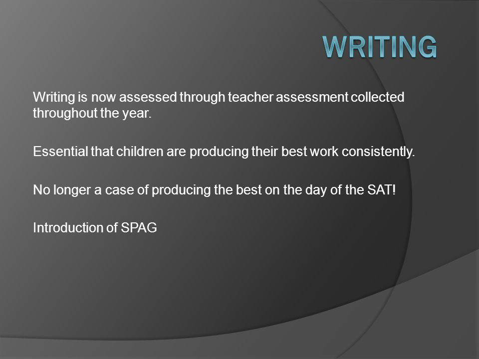 Writing is now assessed through teacher assessment collected throughout the year. Essential that children are producing their best work consistently.