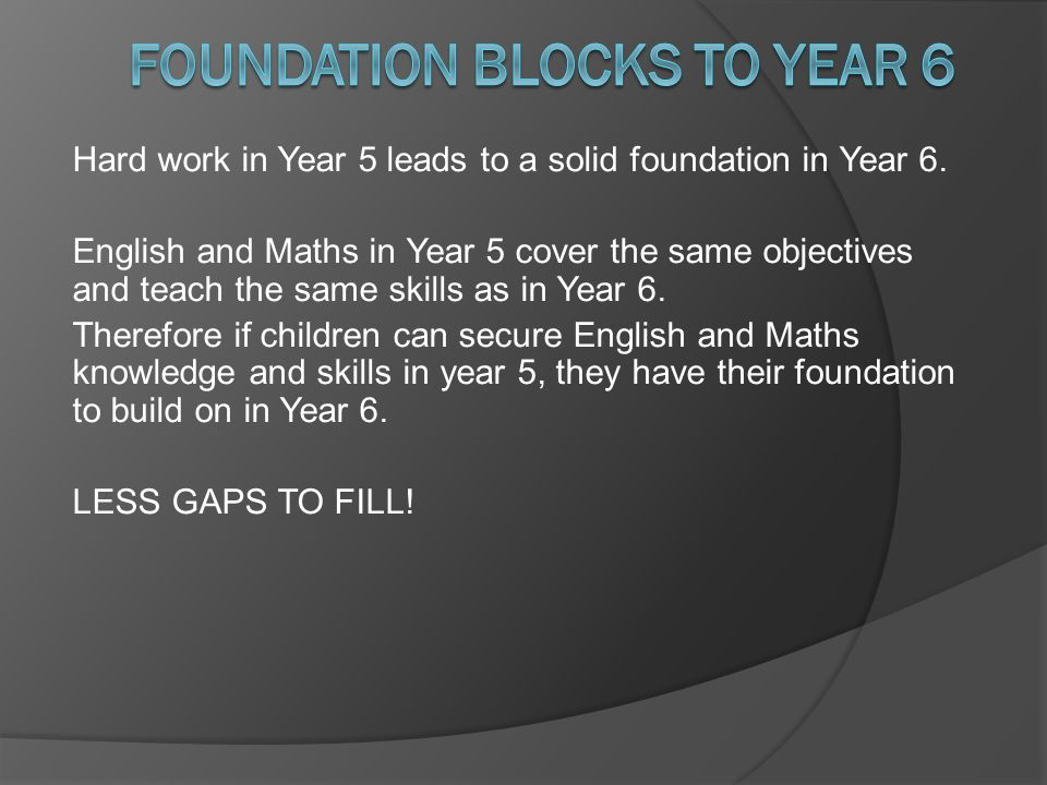 Hard work in Year 5 leads to a solid foundation in Year 6. English and Maths in Year 5 cover the same objectives and teach the same skills as in Year