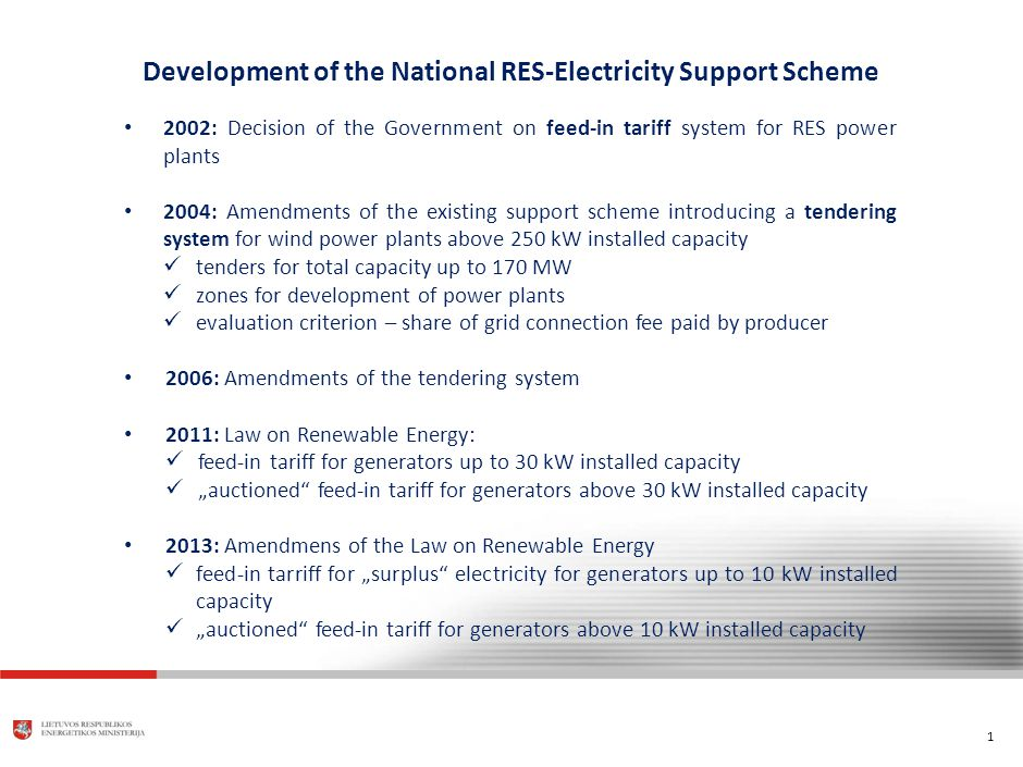 "1 Development of the National RES-Electricity Support Scheme 2002: Decision of the Government on feed-in tariff system for RES power plants 2004: Amendments of the existing support scheme introducing a tendering system for wind power plants above 250 kW installed capacity tenders for total capacity up to 170 MW zones for development of power plants evaluation criterion – share of grid connection fee paid by producer 2006: Amendments of the tendering system 2011: Law on Renewable Energy: feed-in tariff for generators up to 30 kW installed capacity ""auctioned feed-in tariff for generators above 30 kW installed capacity 2013: Amendmens of the Law on Renewable Energy feed-in tarriff for ""surplus electricity for generators up to 10 kW installed capacity ""auctioned feed-in tariff for generators above 10 kW installed capacity"