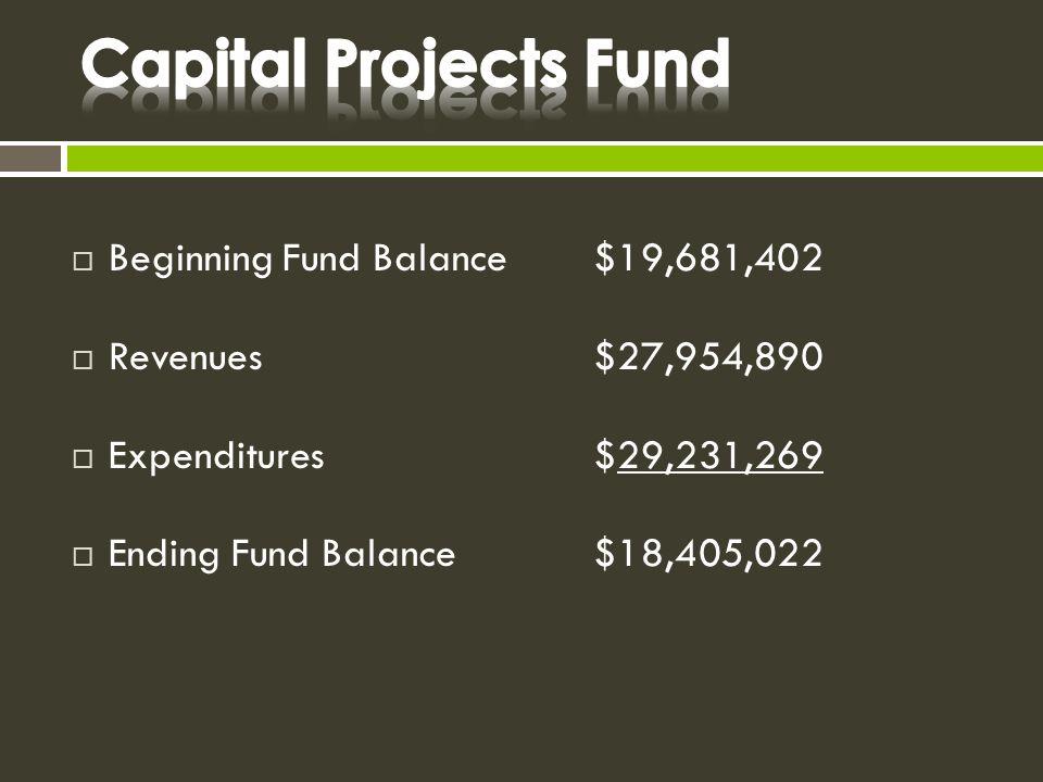  Beginning Fund Balance$19,681,402  Revenues$27,954,890  Expenditures$29,231,269  Ending Fund Balance$18,405,022