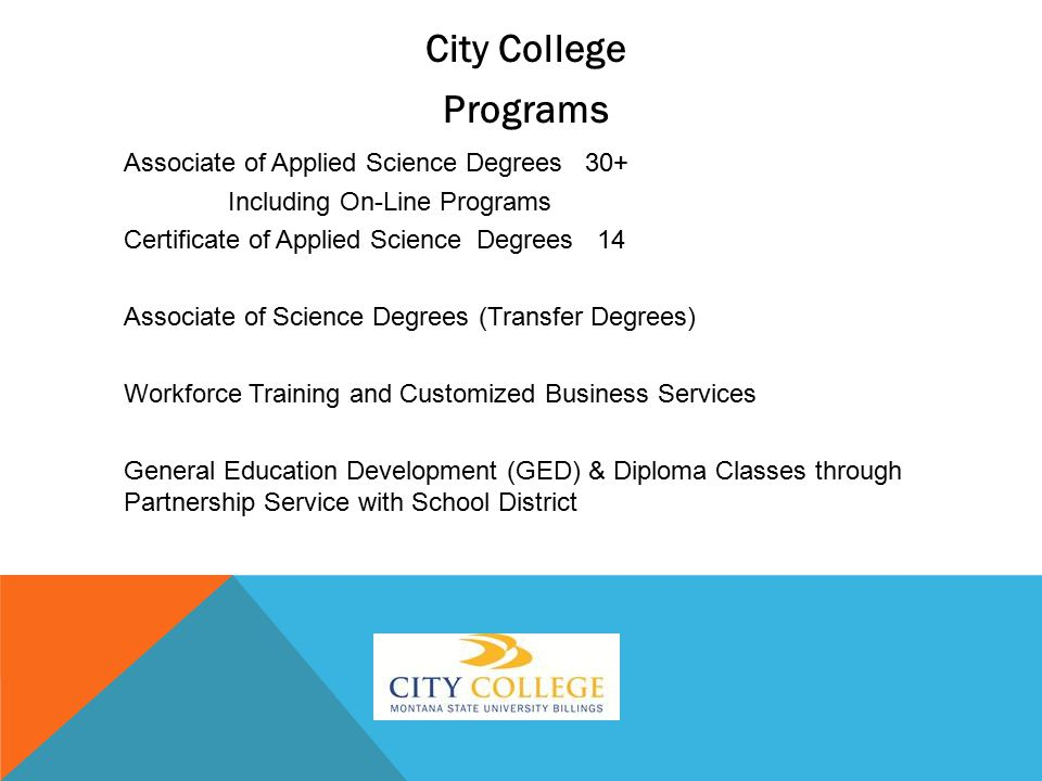 City College Programs Associate of Applied Science Degrees 30+ Including On-Line Programs Certificate of Applied Science Degrees 14 Associate of Science Degrees (Transfer Degrees) Workforce Training and Customized Business Services General Education Development (GED) & Diploma Classes through Partnership Service with School District
