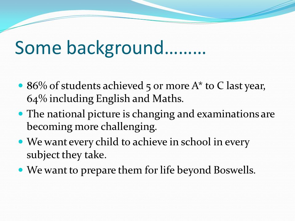 Some background……… 86% of students achieved 5 or more A* to C last year, 64% including English and Maths.