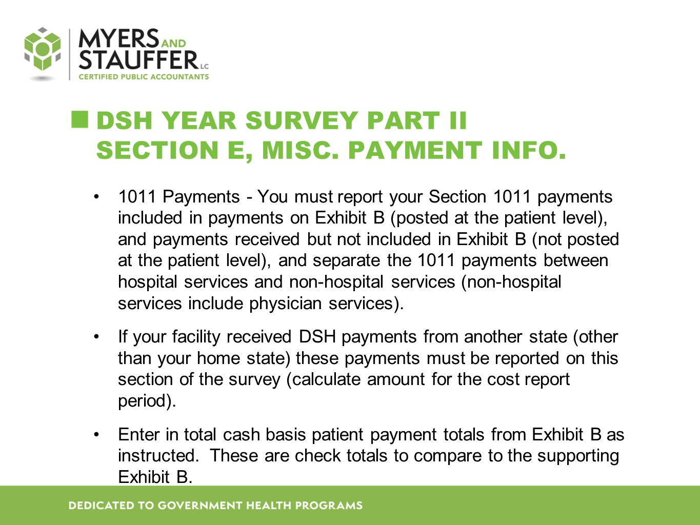 DSH YEAR SURVEY PART II SECTION E, MISC.PAYMENT INFO.