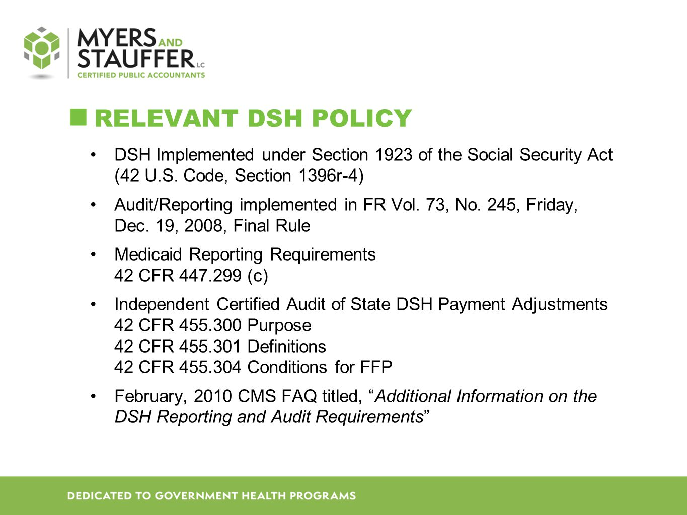 DSH Implemented under Section 1923 of the Social Security Act (42 U.S.