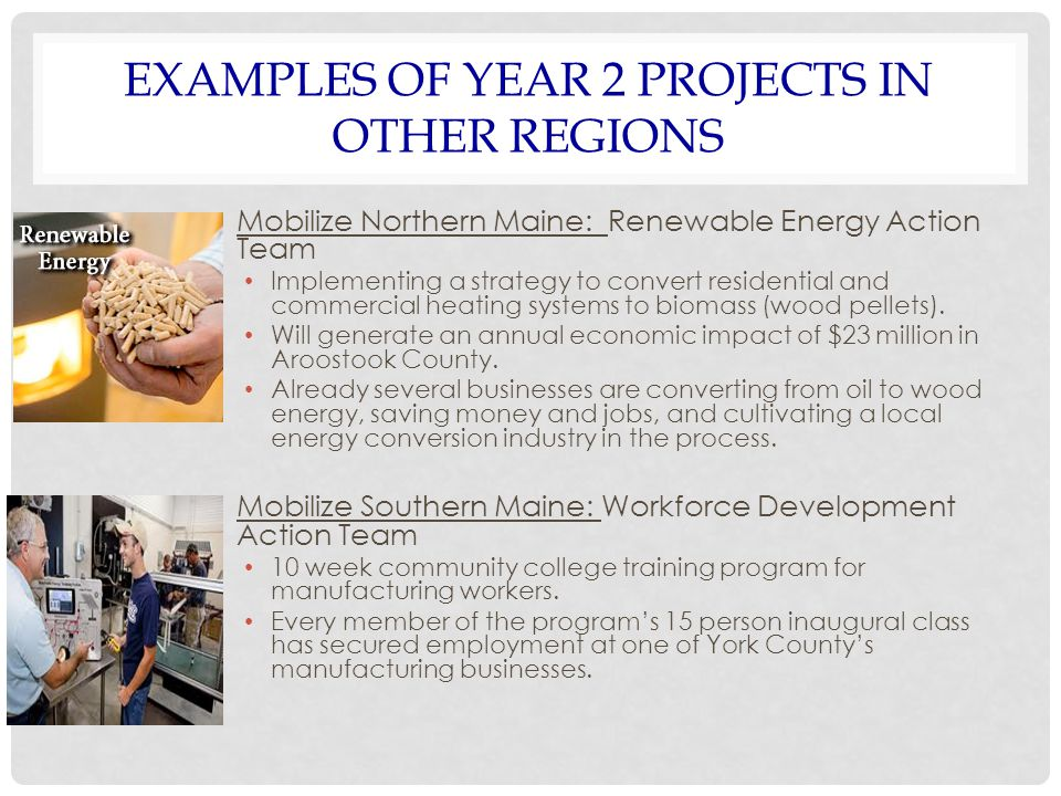 EXAMPLES OF YEAR 2 PROJECTS IN OTHER REGIONS Mobilize Northern Maine: Renewable Energy Action Team Implementing a strategy to convert residential and