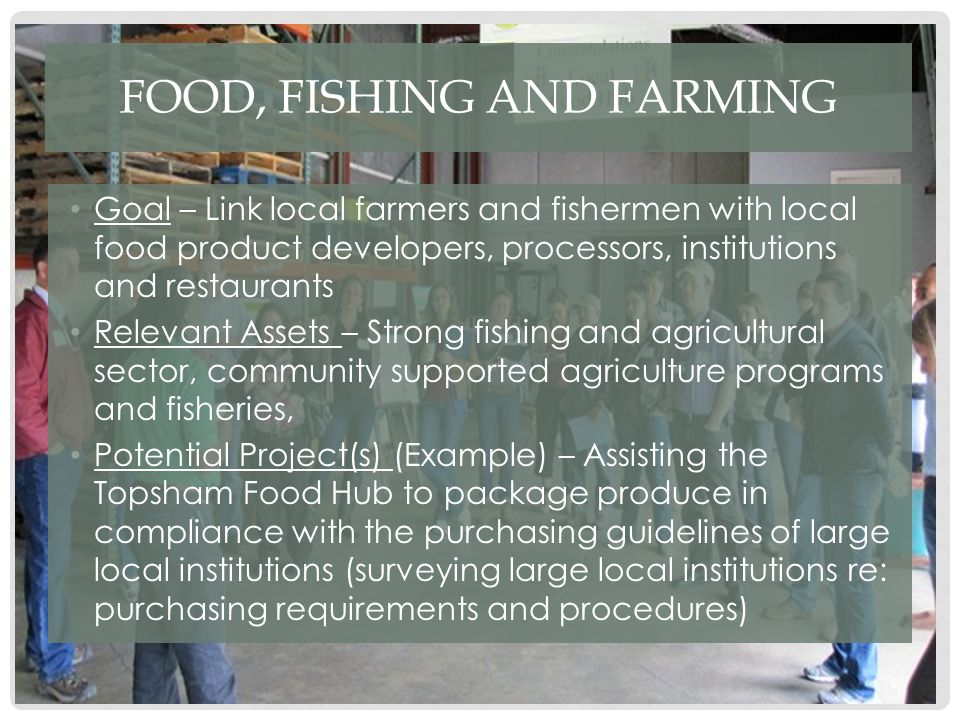 FOOD, FISHING AND FARMING Goal – Link local farmers and fishermen with local food product developers, processors, institutions and restaurants Relevant Assets – Strong fishing and agricultural sector, community supported agriculture programs and fisheries, Potential Project(s) (Example) – Assisting the Topsham Food Hub to package produce in compliance with the purchasing guidelines of large local institutions (surveying large local institutions re: purchasing requirements and procedures)