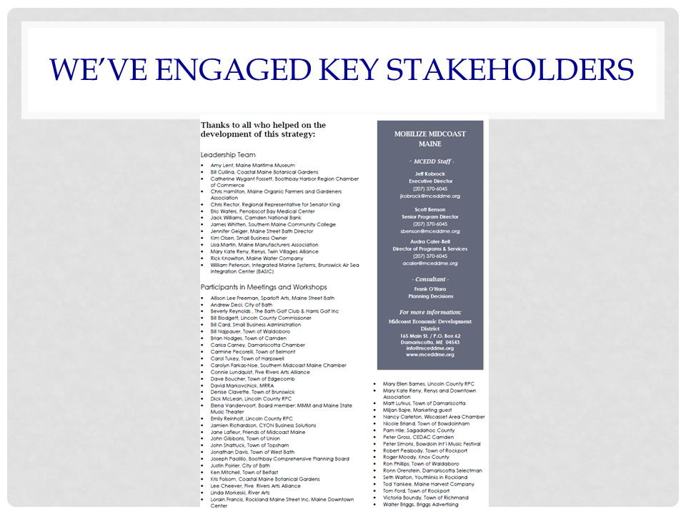 WE'VE ENGAGED KEY STAKEHOLDERS