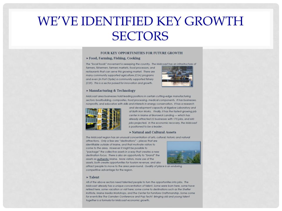 WE'VE IDENTIFIED KEY GROWTH SECTORS