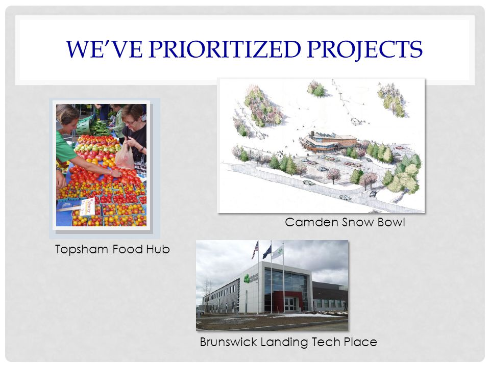 WE'VE PRIORITIZED PROJECTS Topsham Food Hub Camden Snow Bowl Brunswick Landing Tech Place