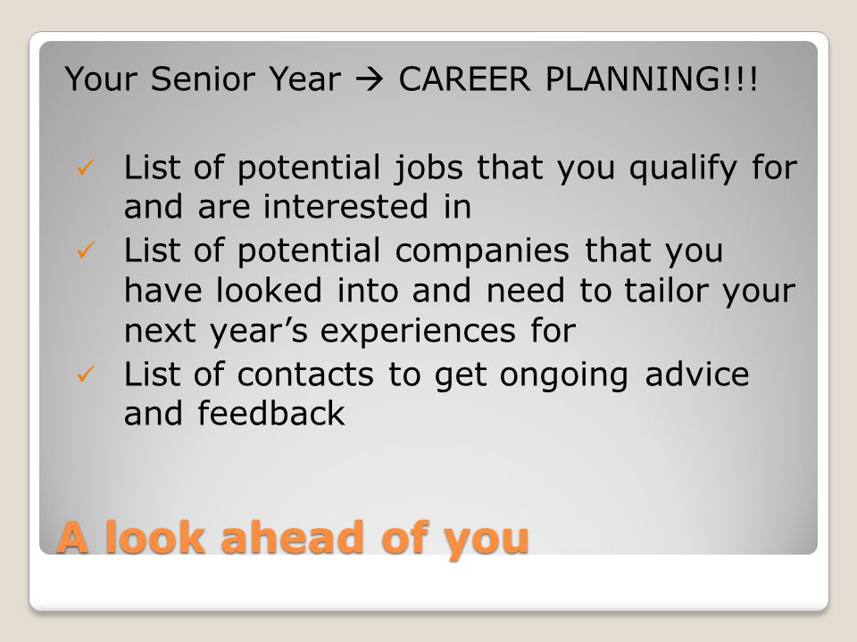 A look ahead of you Your Senior Year  CAREER PLANNING!!.