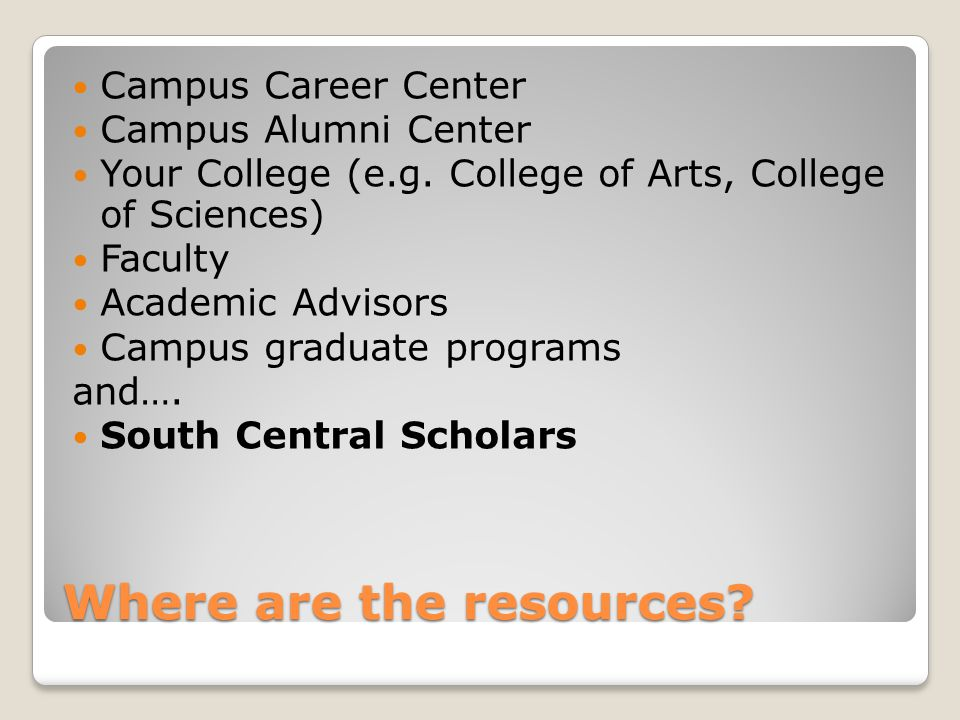 Where are the resources. Campus Career Center Campus Alumni Center Your College (e.g.