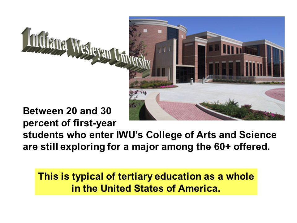 Between 20 and 30 percent of first-year students who enter IWU's College of Arts and Science are still exploring for a major among the 60+ offered. Th