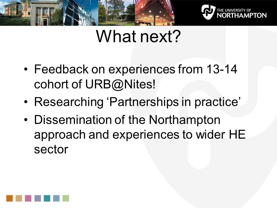 What next. Feedback on experiences from 13-14 cohort of URB@Nites.