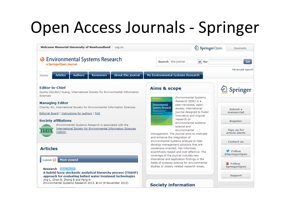 Open Access Journals - Springer