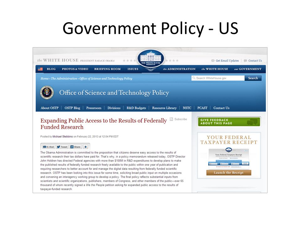 Government Policy - US
