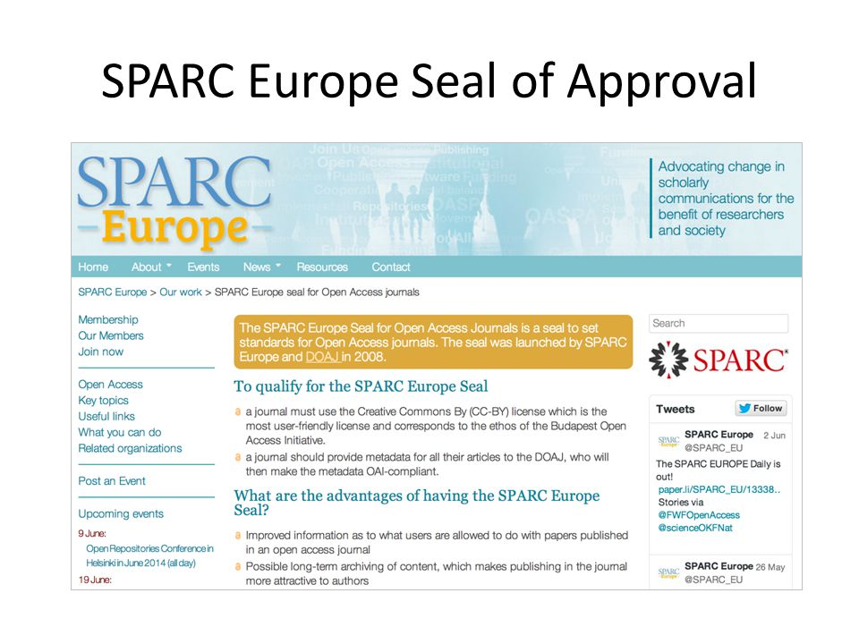 SPARC Europe Seal of Approval