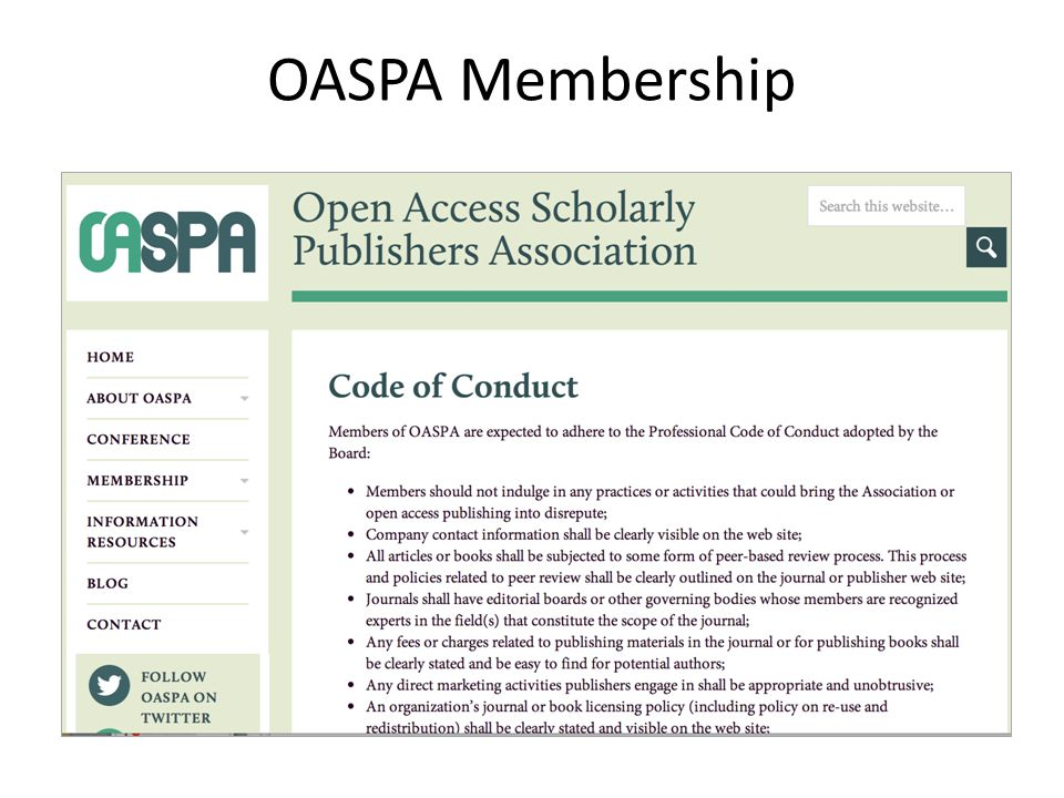 OASPA Membership