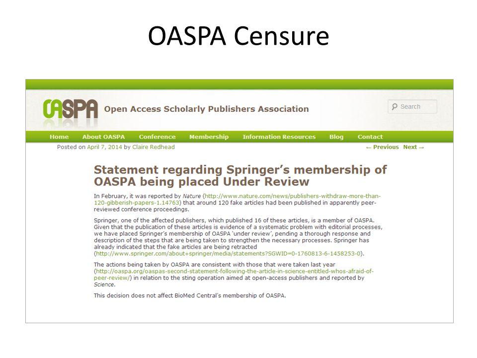 OASPA Censure